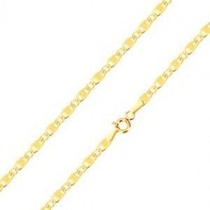 Šperky eshop - 14K zlatý náramok - podlhovasté očká so zárezmi a obdĺžnikom, oválne očká, 210 mm GG101.30