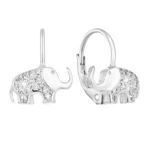 Strieborné detské náušnice visiace so zirkónom biely slon 11222.1