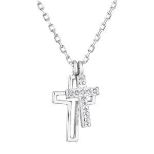 Strieborný náhrdelník so zirkónom biely krížik 12012.1
