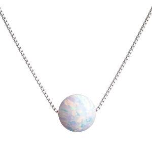 Strieborný náhrdelník so syntetickým opálom biely okrúhly 12044.1