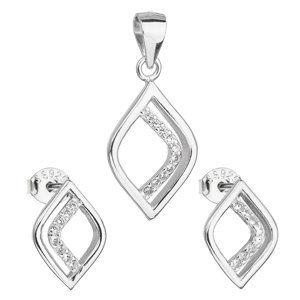 Sada šperkov so zirkónom v bielej farbe náušnice a prívesok 19014.1