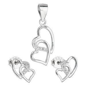 Sada šperkov so zirkónom náušnice a prívesok biele srdce 19015.1