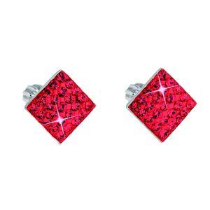 Strieborné náušnice kôstky s krištálmi Swarovski červený kosoštvorec 31169.3 siam