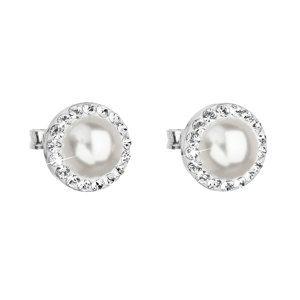 Strieborné náušnice kôstka s krištáľmi Swarovski a bielou perlou okrúhle 31214.1