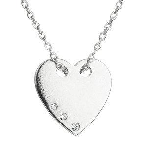 Strieborný náhrdelník s krištáľmi Swarovski biele srdce 32049.1