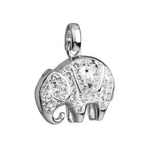Strieborný prívesok s krištálmi biely slon 34807.1