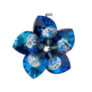 Strieborný prívesok s krištálom Swarovski modrá kvetina 34072.5