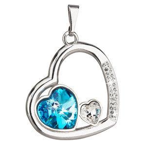 Prívesok so Swarovski krištáľmi modré srdce 34162.3