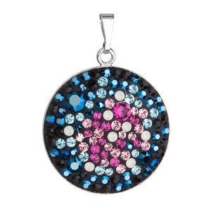 Strieborný prívesok s krištáľmi Swarovski mix farieb modrá ružová okrúhly 34131.4 galaxy