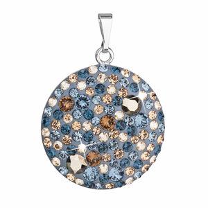 Strieborný prívesok s krištáľmi Swarovski modrý okrúhly 34131.3 denim blue
