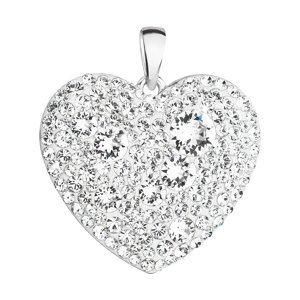 Strieborný prívesok s krištáľmi Swarovski biele srdce 34243.1