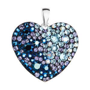 Strieborný prívesok s krištáľmi Swarovski modré srdce 34243.3 blue style
