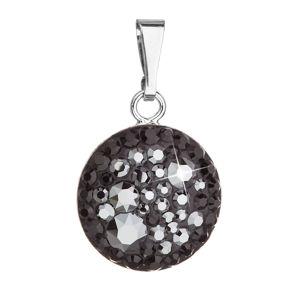 Strieborný prívesok s krištálmi Swarovski čierny okrúhly 34225.5 hematite