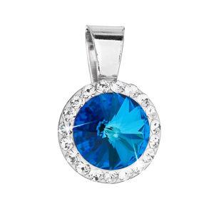Strieborný prívesok s krištálmi Swarovski modrý okrúhly 34251.5