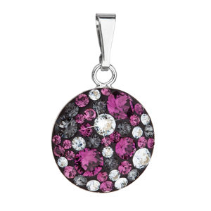 Strieborný prívesok s krištálmi Swarovski fialový okrúhly 34225.3 dark amethyst