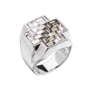 Strieborný prsteň s krištálmi čierny kríž 35811.3