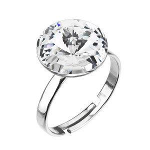 Strieborný prsteň s krištáľmi biely 35018.1