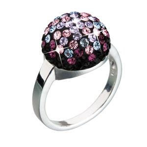 Strieborný prsteň s krištáľmi fialový 35013.5
