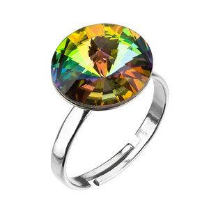 Strieborný prsteň s krištáľmi zelený 35018.5 vitrail medium