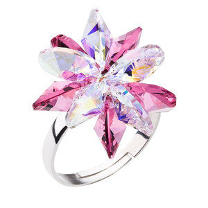 Strieborný prsteň s krištáľmi Swarovski ružová kytička 35024.3 rose
