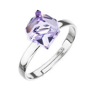 Strieborný prsteň s krištáľmi fialová kostička 35011.3