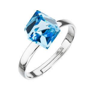 Strieborný prsteň s krištáľmi modrá kostička 35011.3