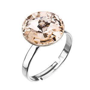 Strieborný prsteň s krištáľmi hnedo-zlatý 35018.3 silk