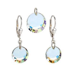 Sada šperkov s krištáľmi Swarovski náušnice a prívesok AB efekt biele okrúhle 39017.2