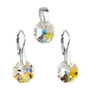 Sada šperkov s krištáľmi Swarovski náušnice a prívesok AB efekt okrúhle 39055.2