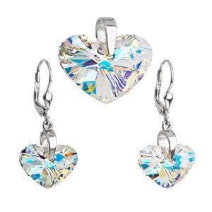 Sada šperkov s krištáľmi Swarovski náušnice a prívesok ab efekt srdca 39085.2