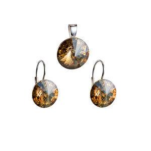 Sada šperkov s krištáľmi náušnice a prívesok zlaté okrúhle 39012.5