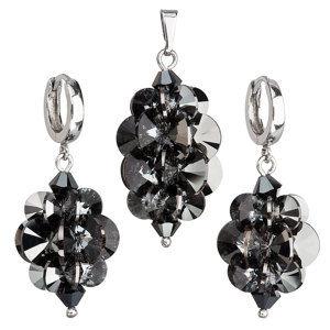 Sada šperkov s krištáľmi Swarovski náušnice a prívesok šedý strapec 39113.5