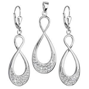 Sada šperkov s krištáľmi Swarovski náušnice a prívesok biele infinity nekonečno 39122.1