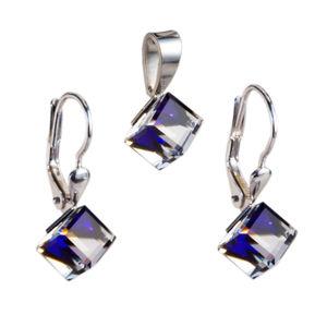 Sada šperkov s krištáľmi náušnice a prívesok modrá kostička 39068.5 bermuda blue