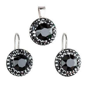 Sada šperkov s krištáľmi náušnice a prívesok čierne guľaté 39106.5 hematite