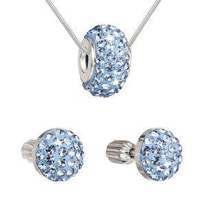 Sada šperkov s krištáľmi náušnice a prívesok modré okrúhle 39200.3