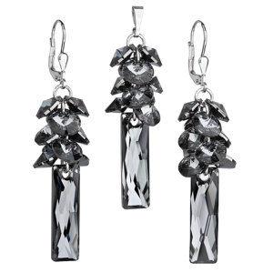 Sada šperkov s krištáľmi Swarovski náušnice a prívesok šedý hrozno 39124.5