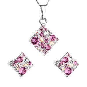 Sada šperkov s krištáľmi Swarovski náušnice, retiazka a prívesok ružový kosoštvorec 39126.3