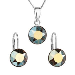 Sada šperkov s krištáľmi Swarovski náušnice, retiazka a prívesok zelené okrúhle 39140.3