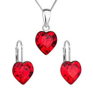 Sada šperkov s krištáľmi Swarovski náušnice, retiazka a prívesok červené srdce 39141.3