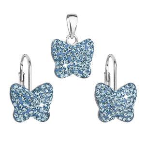 Sada šperkov s krištáľmi Swarovski náušnice a prívesok modrý motýľ 39144.3