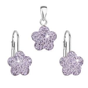 Sada šperkov s krištáľmi Swarovski náušnice a prívesok fialový kvietok 39145.3