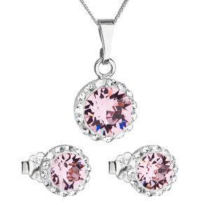 Sada šperkov s krištáľmi Swarovski náušnice, retiazka a prívesok ružové okrúhle 39152.3 rose