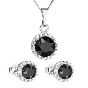 Sada šperkov s krištáľmi Swarovski náušnice a prívesok čierne okrúhle 39152.3