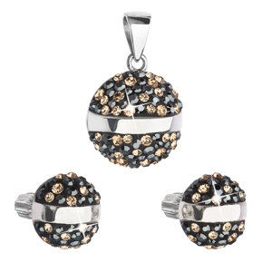 Sada šperkov s krištáľmi Swarovski náušnice a prívesok mix farieb čierna hnedá zlatá okrúhle 39157.4