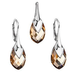 Sada šperkov s krištálmi Swarovski náušnice a prívesok zlatá slza 39169.4