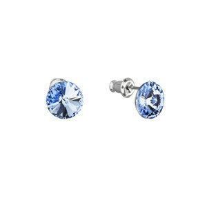 Náušnice bižutéria so Swarovski krištáľmi modré okrúhle 51037.3 sapphire