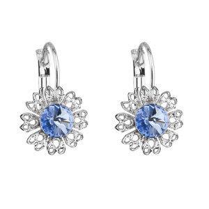 Náušnice bižutéria so Swarovski krištáľmi modrý kvietok 51041.3 sapphire