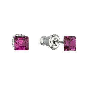 Náušnice bižutéria so Swarovski krištáľmi ružová štvorec 51052.3 fuchsia