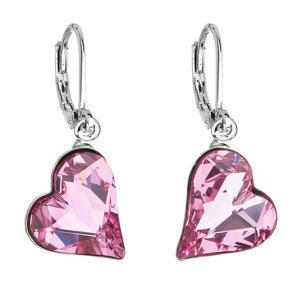 Náušnice bižutéria so Swarovski krištáľmi ružové srdce 51054.3